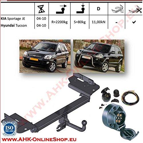 ATTELAGE avec faisceau 7 broches | Kia Sportage/Hyundai Tucson de 2005 à 2010 / crochet «col de cygne» démontable avec outils