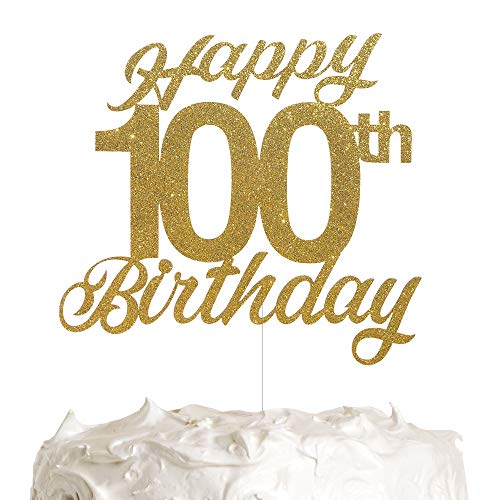 100th Birthday Cake Topper, Birthday Party Decorations with Premium Gold Glitter