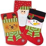 THE TWIDDLERS 3 Calcetines Navideñas Vintage para Llenar y Colgar, 36cm| Botas Navidad, Medias Navidad| Papá Noel, Rudolf el Reno, Muñeco de Nieve| Adornos Árbol de Navidad, Chimenea Decorativa.