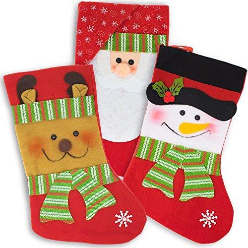 3 Stück Vintage Weihnachtsstrümpfe Socken zum Befüllen & Aufhängen, 36cm| Klassische Nikolausstrumpf Nikolausstiefel| Weihnachtsmann, Rudolf Rentier, Schneemann| Kamin Weihnachtsbaum Weihnachtsdeko.
