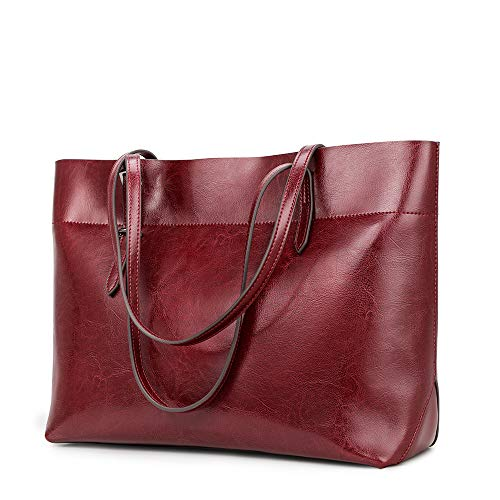 """❤CAPACITY❤ (L*H*D) 13.77""""*10.63""""*5.11""""; Handle Strap: 10.24""""; NW: 1.63 pounds; May hold 14 inch Laptop, A4 files, water bottle, sunglasses, wallet, etc. ( Not suitable for laptop over 14 inch) ❤STRUCTURE❤ Interior: leather tote bag with 1 zipper main..."""
