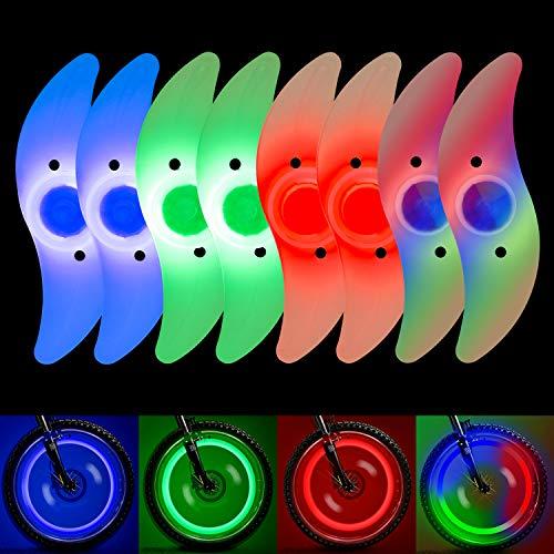 QKURT 8 x Speichenlichter (bunt, grün, rot, Bulex2), wasserdichte Radspeichenlichter, Felgenlicht, verwendet für Fahrradspeichen-Dekoration, Sicherheit und Warnung.