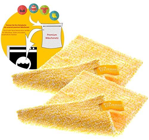 Jemako 2er Set DuoTuch 18 x 24 cm gelbe Faser, inkl. Sinland feinmaschiges Wäschenetz
