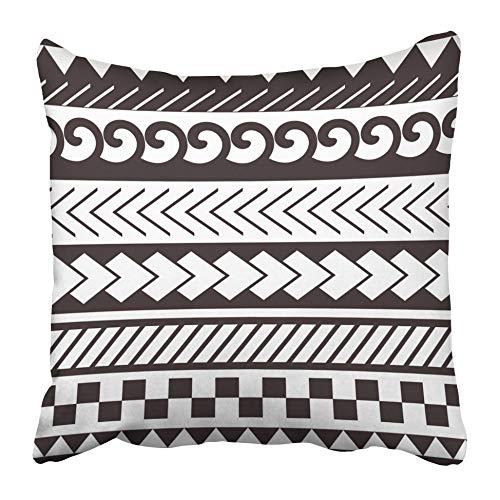 ETGeed Kissenbezüge Arm Maori Polynesian Style Armband Tattoo Schwarz Weiß Schulter Aboriginal Brust Curl Curvees