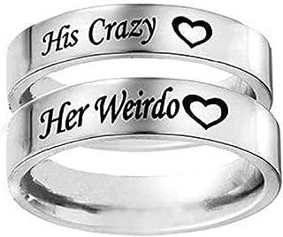 بلون له مجنون / لها غريبة القلب خاتم من الفولاذ المقاوم للصدأ خاتم الخطوبة الزفاف للنساء الرجال زوجين
