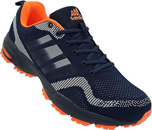 Herren Sportschuhe Sneaker Turnschuhe Schuhe Übergröße Art.-Nr.1388-F (48) Navy-grau-orange 48 EU