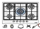 Phönix PS-901T Einbau Gaskochfeld Edelstahl Kochfeld 90 cm Gaskocher 5 Flammen autark (freistehend-...