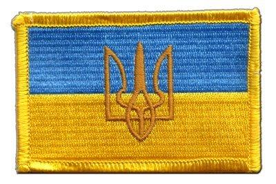 Aufnäher Patch Flagge Ukraine mit Wappen - 8 x 6 cm