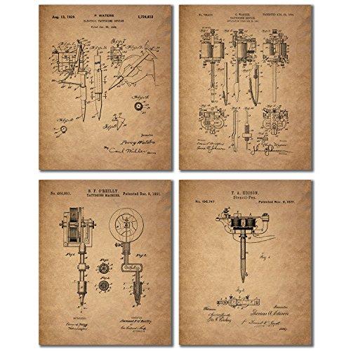 Tattoo Artist Patent Prints - Set of 4 Vintage Wall Art Photos
