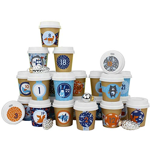 Papieren drachen DIY adventskalender koffie beker - om zelf te knutselen en te vullen - met gouden Washi Tape - 24 Coffee to Go Cups - Design Set 116
