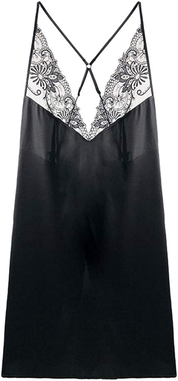 Sleepwear Nightwear Ladies' Black Sleepdress Lace Edge Nightdress Shoulder Strap Adjustable Soft and Snug Wife's Pajama Sets (color   Black, Size   L)
