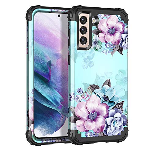 Casetego for Galaxy S21 Plus 5G Case,S21+ 5G Case,Floral Three Layer Heavy Duty Sturdy Shockproof Full Body Protective Cover Case for Samsung Galaxy S21 Plus 5G 6.7 inch,Blue Flower