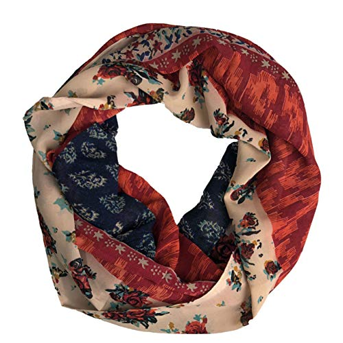 Peach Couture Exclusive Vintage Floral Prints Infinity Loop Scarves Light Scarf Tan Red