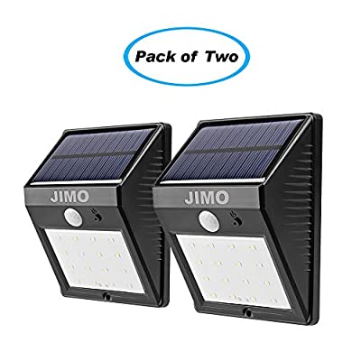 JIMO Super-bright 28 LED Wireless Solar Outdoor Lights with Security Motion Sensor, Dim & Bright Mode, Waterproof, for Driveway, Patio, Deck, Pool, Yard, Garden