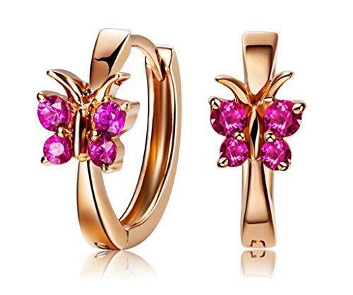 B.Z La Vie ®Pendientes mujer Plata 925 Oro rosa criollo mariposa circón