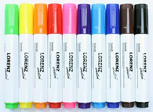 10 Textilstifte Stoffmalstifte | wasserfest | handlich | feste Spitze | perfekt für farbenfrohe DIY Projekte und zum Bemalen von Stofftaschen Jutebeuteln T-Shirts Schuhen und anderen Textilien