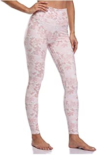Jinqiuyuan Yoga Pants Woman Fitness Sports Tights High Waist Sport Leggings Print Elastic Workout Tights XS-XL Running Trouser Plus Size (Color : Pink, Size : XL)