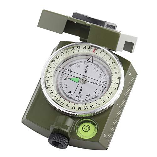 DAUERHAFT Brújula Lensatic Resistente a la compresión 2.6 * 2.1 * 1.0 Pulgadas con un cordón, para medir el ángulo de desviación(Army Green)