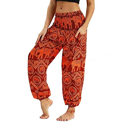 Nuofengkudu Damen Hippie Harems Hose Pumphose Haremshose Aladdinhosen Boho Gemustert Gesmockte Taille mit Taschen Yogahose Freizeithose Sommerhose Strandhose Orange Elefant