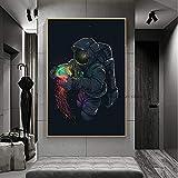 MJKLU Moderno Abstracto Astronauta Jugando Medusas Coloridas sueño Traje Espacial Paseo Espacial Lienzo Pintura Pared Arte Cartel Dormitorio Sala de Estar Oficina Estudio decoración del hogar