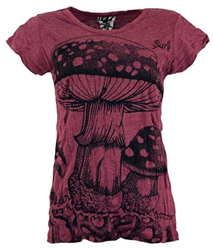Guru-Shop Sure T-Shirt Fliegenpilz, Damen, Bordeaux, Baumwolle, Size:L (40), Bedrucktes Shirt Alternative Bekleidung