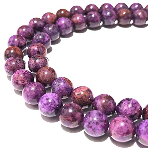 [ABCgems] Mexican Dark-Orchid Crazy Lace Agate (Gorgeous Swirl Matrix- Mohs Hardness 7) 8mm Smooth Round Semi-Precious Gemstone Healing Energy Beads
