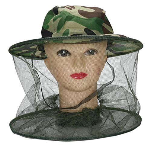 Mosquito Head Net Hat,Wide Brim Boonie Cap Sun Hat with Bug Face Mesh Netting for Camping Garden Beekeeping Men/Women Outdoor Protective Cover Anti Insect,Bee,Gnats,No-See-Ums Green