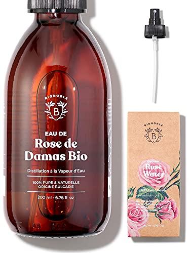 EAU DE ROSE BIO | Hydrolat de Rose de Damas 100% Pur & Naturel | Visage, Contour des Yeux, Corps, Cheveux | Rose Water | Bouteille en Verre + Spray (200ml)