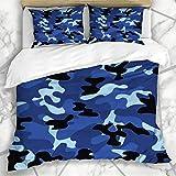 Conjuntos de funda nórdica Protección Soldado Azul Patrón de camuflaje Estilo Ropa de belleza antigua Equipo de supervivencia Texturas de moda Microfibra suave Dormitorio decorativo con 2 fundas de al