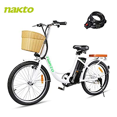 BRIGHT GG NAKTO 22 inch City Electric Bike for Adults Women Ebike with 36V10A Lithium Battery and 250W Motor,White Electric Bicycle with Charger and Lock