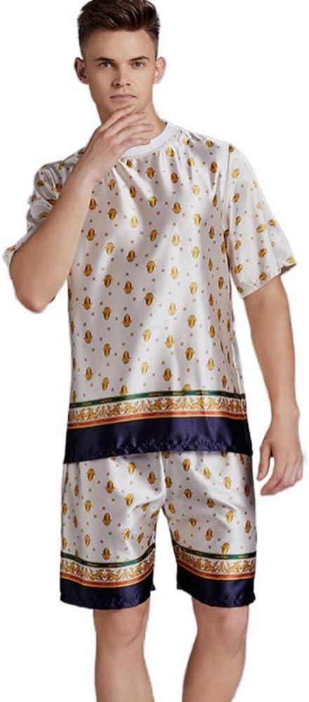 ZWLXY Men's Pajamas Set 2020 Summer Loose Leisure Men Sleepwear Silk Men's Short Sleeve Loungewear Suit Fashion Tracksuit,White,M