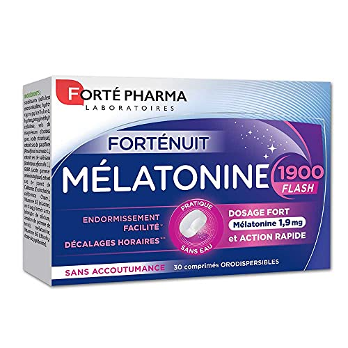 Forté Pharma - Mélatonine Flash 1900   Complément Alimentaire Sommeil à base de Mélatonine - Endormissement Rapide   30 comprimés orodispersibles