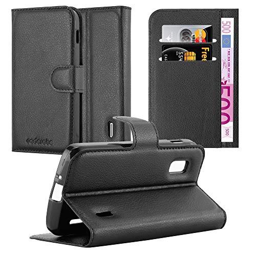 Cadorabo Hülle für LG Nexus 4 - Hülle in Phantom SCHWARZ – Handyhülle mit Kartenfach und Standfunktion - Case Cover Schutzhülle Etui Tasche Book Klapp Style
