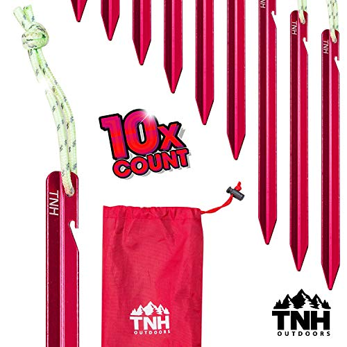TNH Outdoors 10X Aluminum Tri-Beam Tent Stakes and Bag...