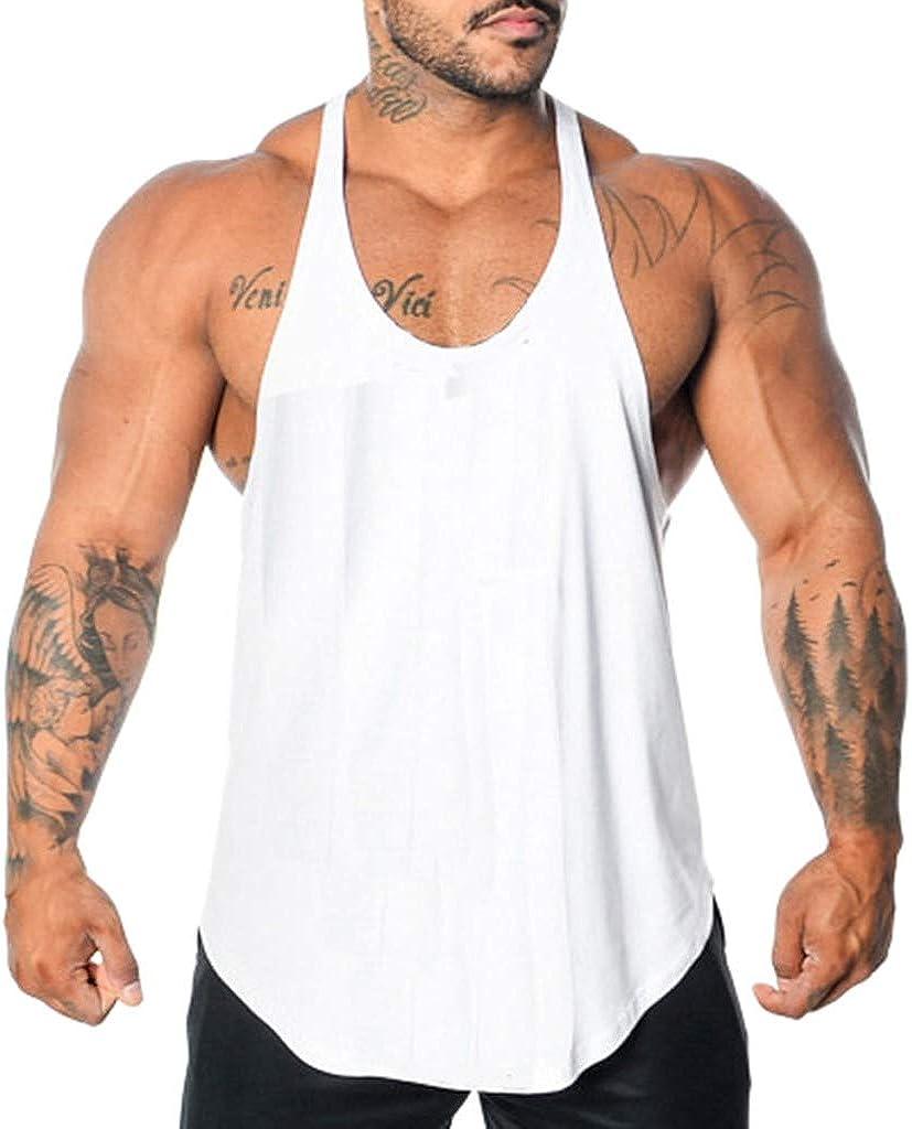 VEKDONE Men's Gym Stringer Tank Top Bodybuilding Workout Y Back Sleeveless Muscle Fitness Vest