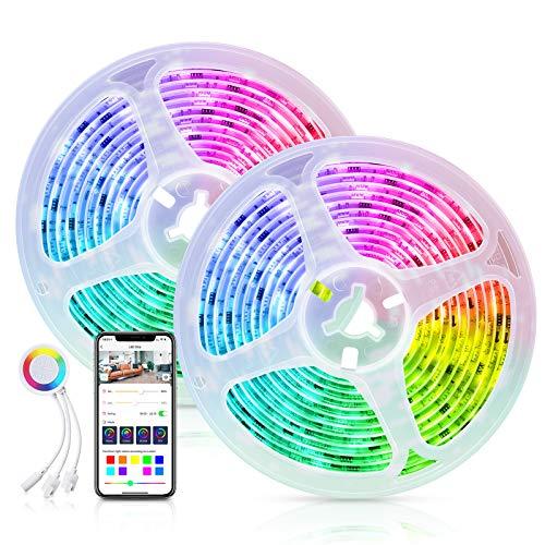 Dreamcolor Tira Led, Maxcio Tira Led Rgb WiFi control de App, compatible con Alexa y Google Home, Luces Decorativas Led Strip con 8 Modos de Música y 8 modos de Escenas, DIY (2x5m)