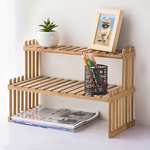 MyGift Natural Bamboo Table Top Plant Stand, 2-Tier Desktop Shelf Rack