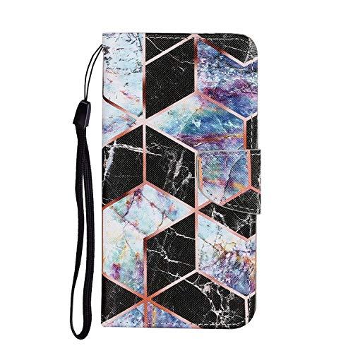 Miagon für Xiaomi Redmi 9C Hülle,Bunt Muster Handytasche Flip Case PU Leder Cover Magnet Schutzhülle Ständer mit Kartenfach Magnetisch,Schwarz Marmor