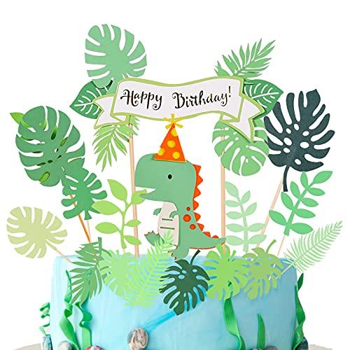 Herefun Decoración para Tarta, 16 Piezas Decoración Tarta Dinosaurio, Animales Decoración para Tartas Selva para Niños Happy Birthday Decoracion Tarta Cumpleaños Fiesta Decoraciones Pasteles Topper