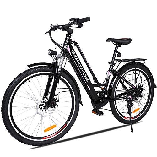 Vivi Bicicleta Eléctrica para Adultos, Bicicleta Eléctrica de Ciudad de 26 Pulgadas, 250W Ebike con Batería Litio de 36V 8Ah, Profesional de 7 Velocidades (Entrega en 5-7 días) (26 Pulgadas Negro)