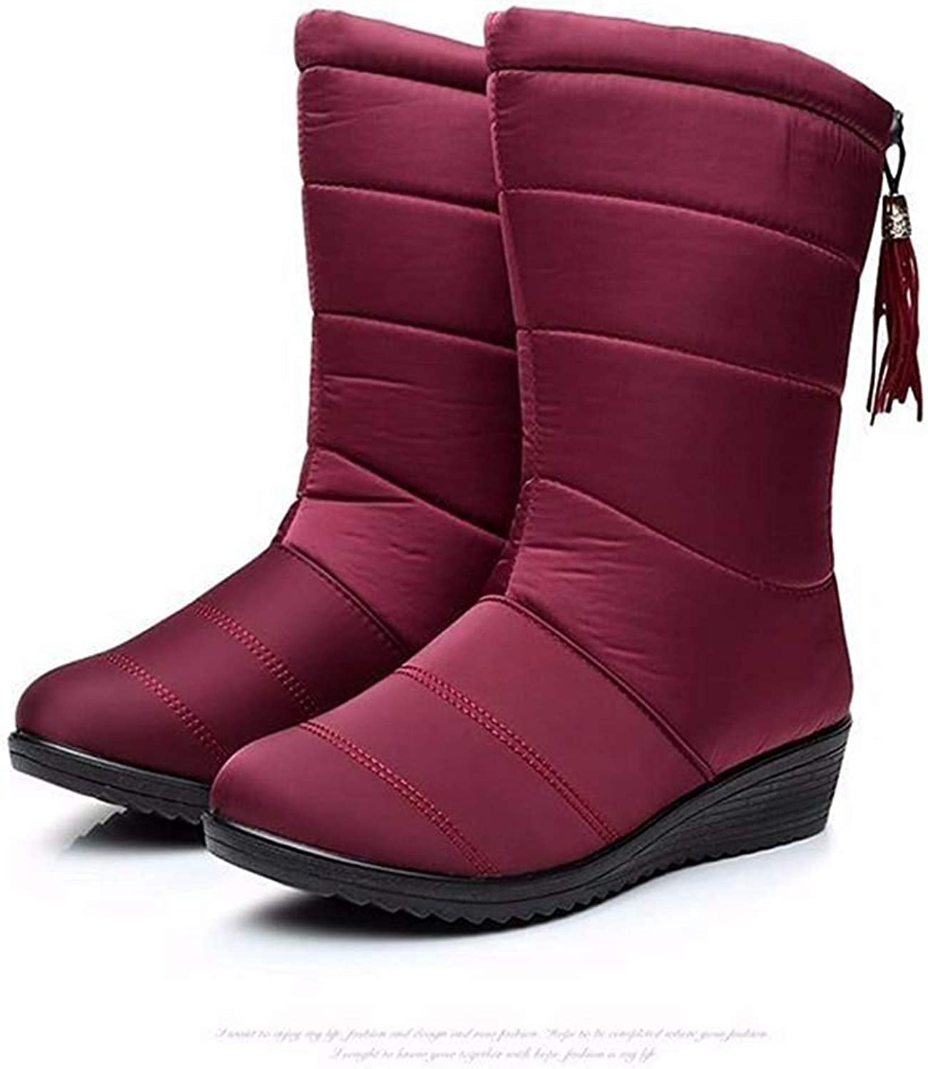 Gcanwea Female Down shoes Winter Snow Ankle Boots Women Waterproof Warm Girls Mid Calf Boots Ladies Soft Warm Fur shoes Easy to Match to Wear with Dress for Girls for Woman Black 5 M US Boots