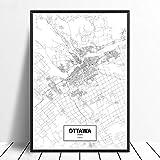 Leinwanddruck,Ottawa Schwarz Weiß Benutzerdefinierte Welt