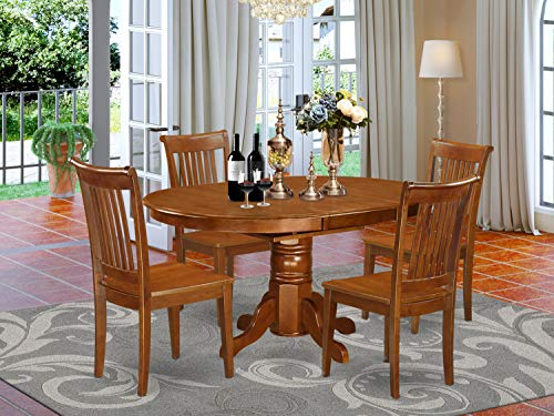 East West Furniture AVPO5-SBR-W dining room table set 4 Amazing dining chairs - A Lovely mid-century dining table- Saddle Brown Color Wooden Seat Saddle Brown Butterfly Leaf modern dining table