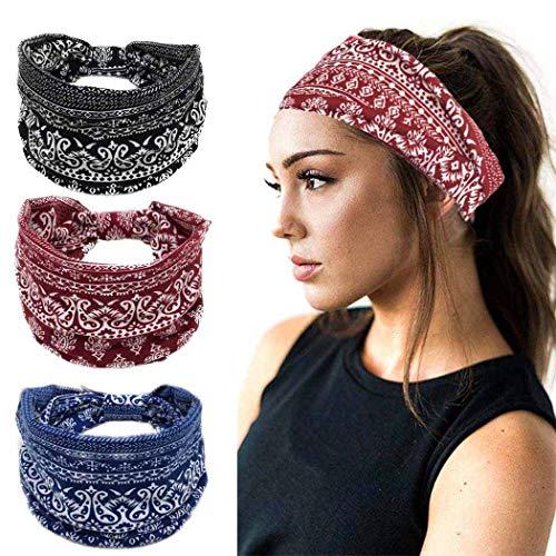 Sethexy Boho Stirnband Elastisch Yoga Stirnband Sanft Kopfwickel 3St Sport Wicking Kopfbedeckung Laufen Kopftuch Stirnband für Frauen und Mädchen