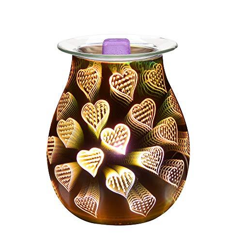 Viitech Elektrische Duftlampe aus Glas, 3D-Herz-Nacht-Aromalampe, Duftbrenner, Wärmer, romantische Atmosphäre für Valentinstag, Dekoration und Schlafzimmer und Zuhause – Herzmuster