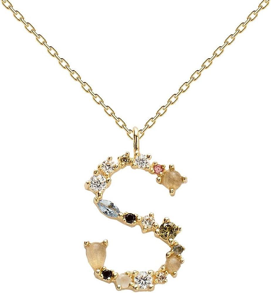 Pdpaola - collana per donna lettera s - argento sterling 925 placcato in oro 18 carati CO01-114-U