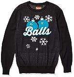 Hybrid Apparel Men's Ugly Christmas Sweater, Blue Balls/Black, Large