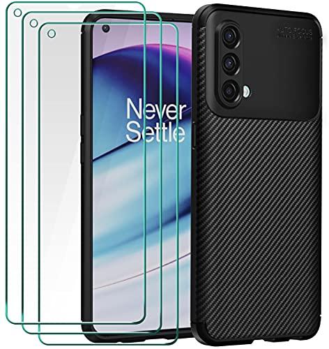 ivoler Funda para OnePlus Nord CE 5G, con 3 Unidades Cristal Templado, Fibra de Carbono Carcasa Protectora Antigolpes Negro, Suave TPU Silicona Caso Anti-Choques Case Cover