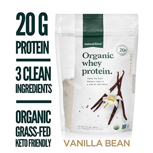 Natural Force Organic Whey Protein Powder 14.2 oz. *Premium Vanilla Flavor* A2 Grass Fed Whey...