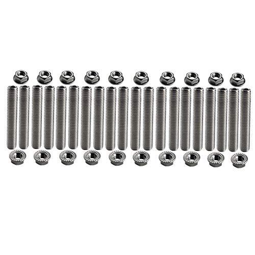 Dewhel 20 pcs stainless exhaust manifold stud kit manifolds Super Duty for Ford 6.8 Liter V10